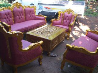Sofa Tamu Mewah Emas Romawi