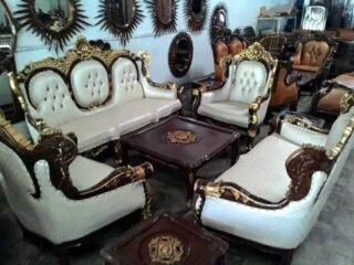 Sofa tamu jati romawi oval