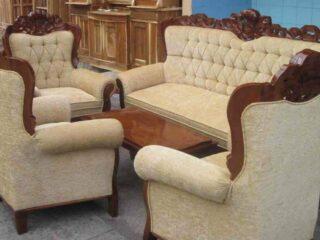 Sofa Tamu Jati Romawi Gajah Natural