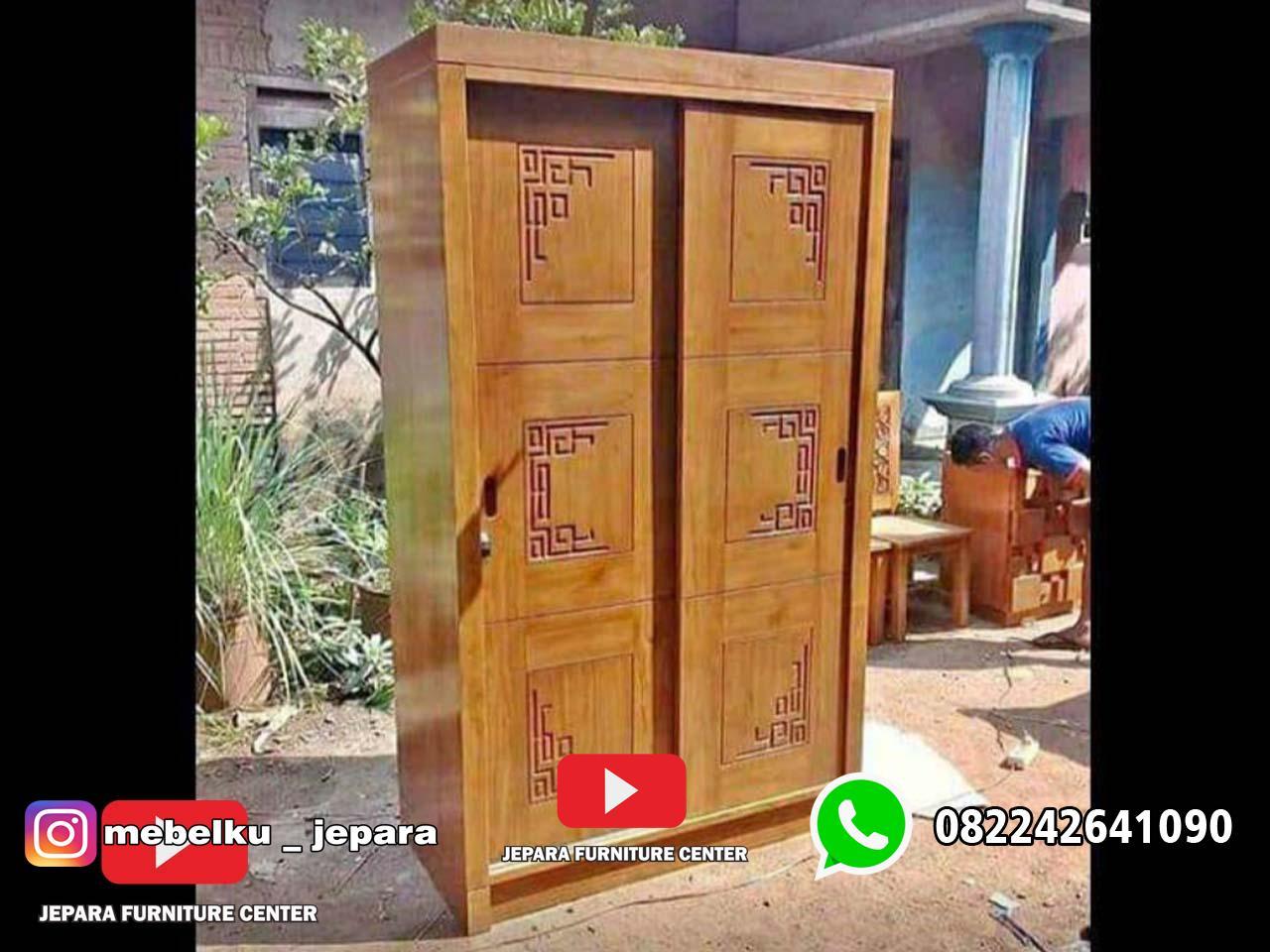 lemari pakaian minimalis 2 pintu sliding
